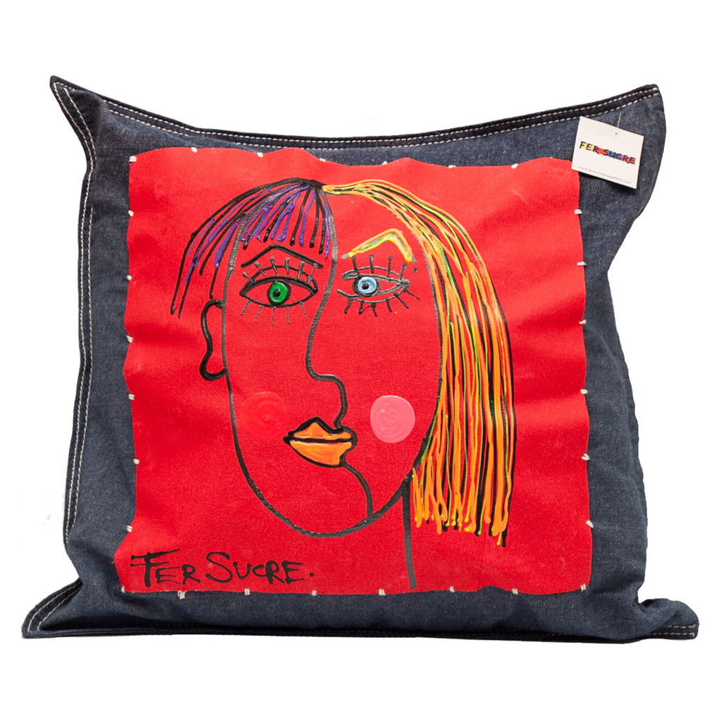 Woman Double  Face Pillow by Fer Sucre on blue cotton denim .Design only on front, zipper access