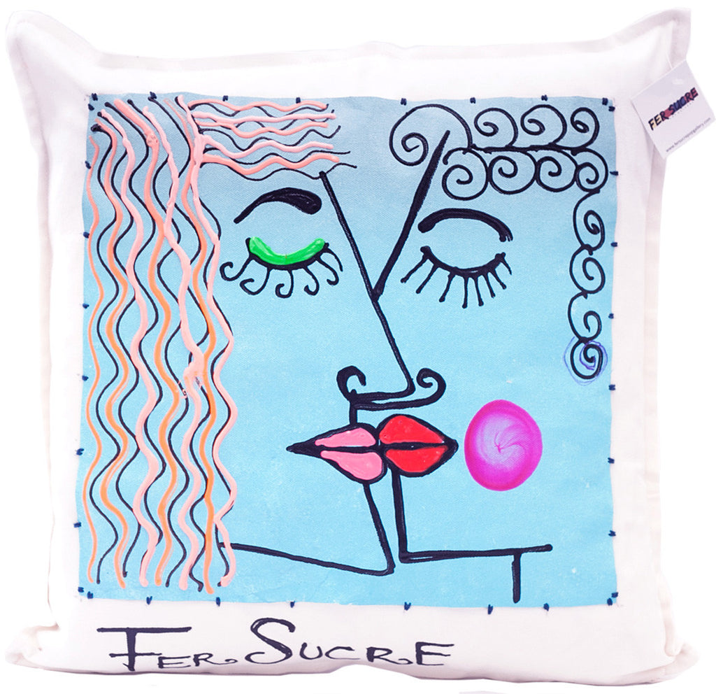"Blue Love Painted Pillow by Fer Sucre on white cotton Design only on front White top stitching accent Acrylic and Plastic  Measurements: 20""x 20"""