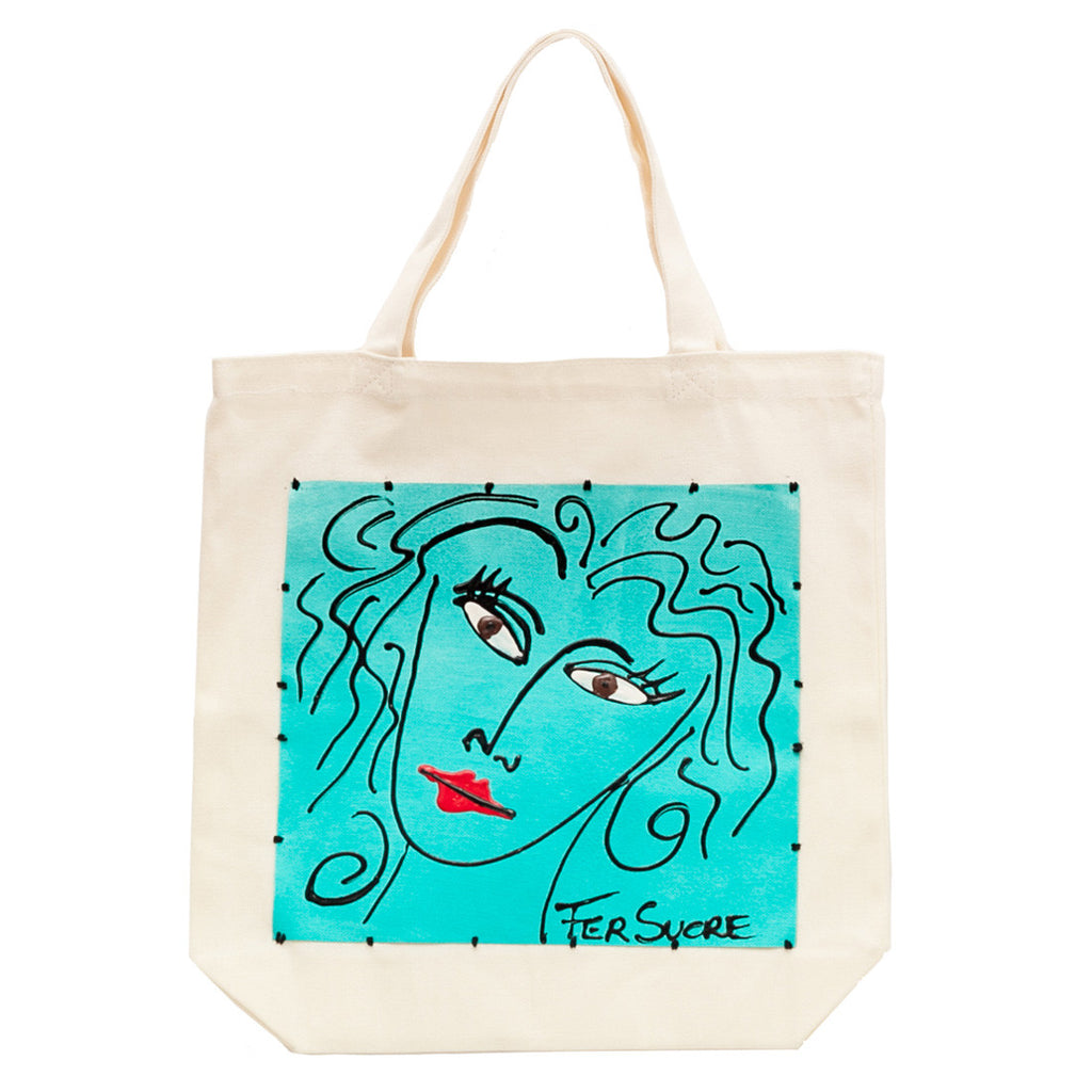 Woman in Aqua Bag by Fer Sucre on natural cotton.Acrylic and Plastic sewn on Cotton