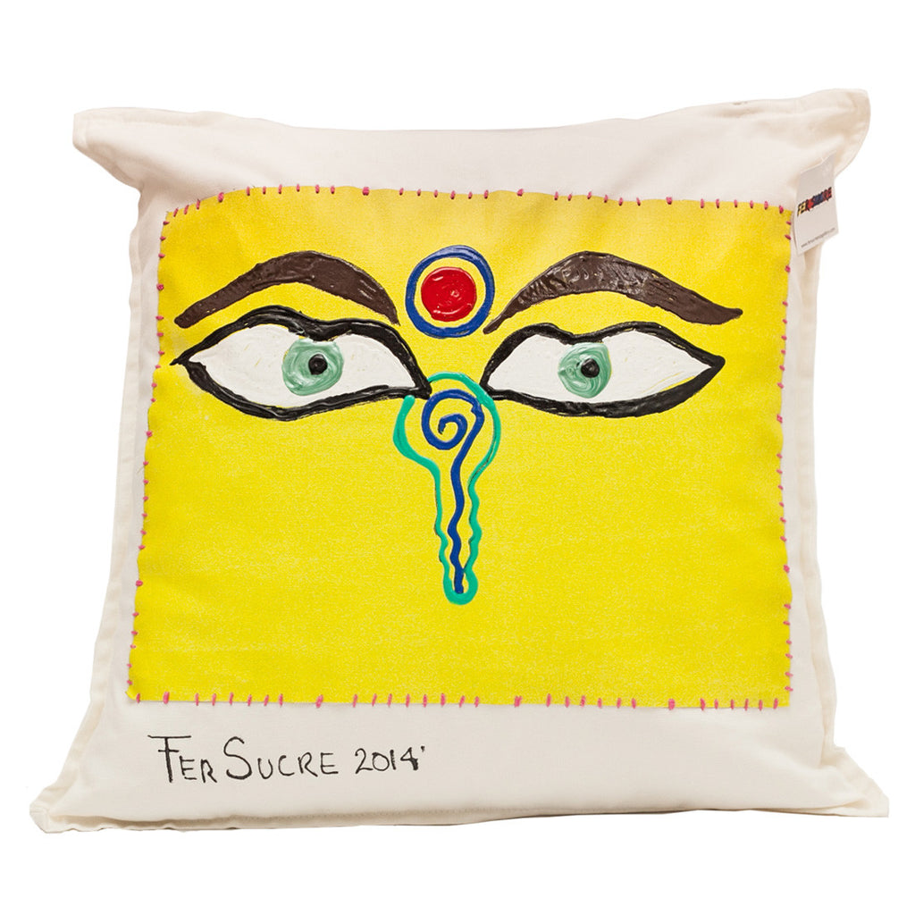 You  & Me Pillow by Fer Sucre on white cotton  .Design only on front, zipper access