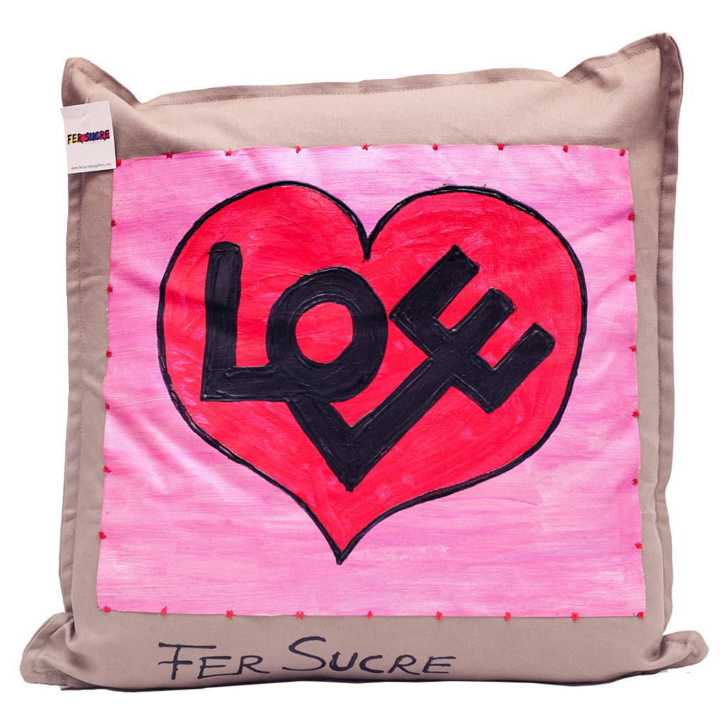 Love Pillow by Fer Sucre on khaki cotton denim.Design only on front, zipper access