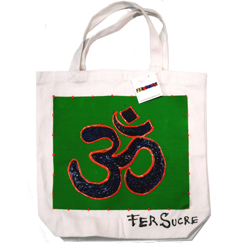"OM Small Bag by Fer Sucre on natural cotton Design only on front Technique: Acrylic and Plastic sewn on Cotton Measurements: 14""x 14"", 5"" handle"
