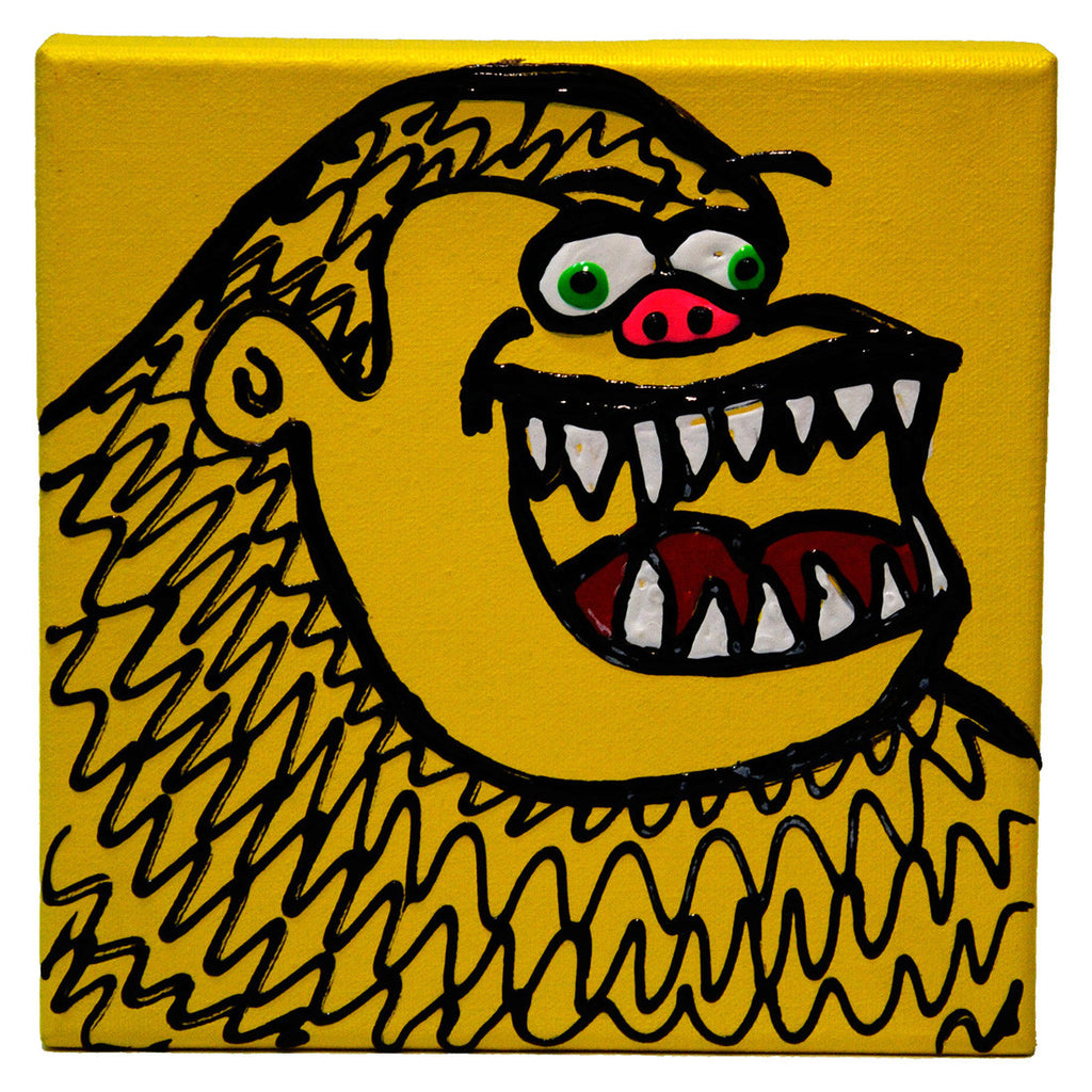 "Gorilla Painting by Fer Sucre Technique: Acrylic and Plastic Measurements: 7"" square Year: 2010 Frame: unframed"