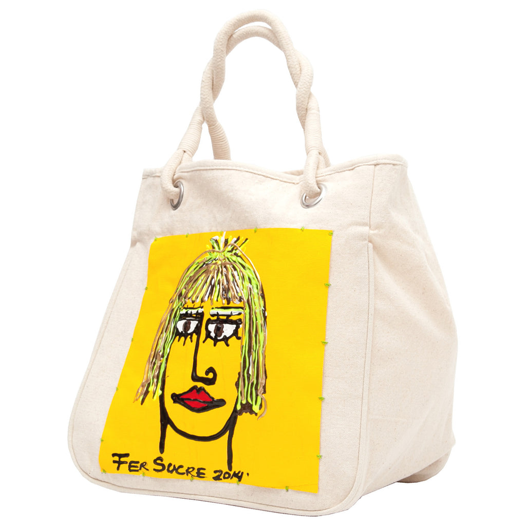 Woman in yellow Bag with handles by Fer Sucre on natural cotton