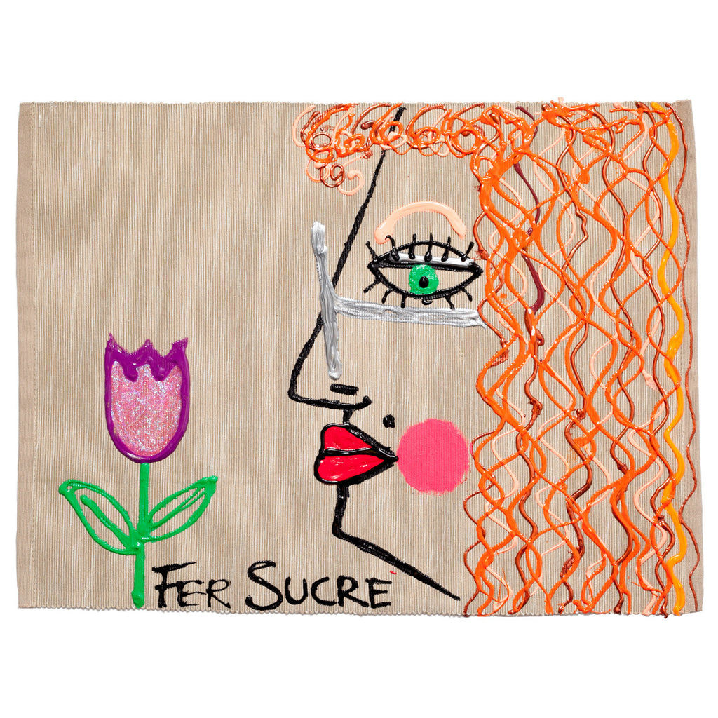 Red hair Woman with a Tulip Individual Place Mat by Fer Sucre on natural cotton.Design only on front
