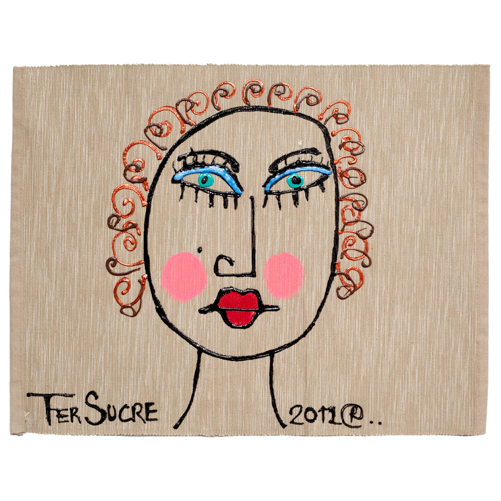 Curly Hair Woman Individual Place Mat by Fer Sucre on natural cotton.Design only on front