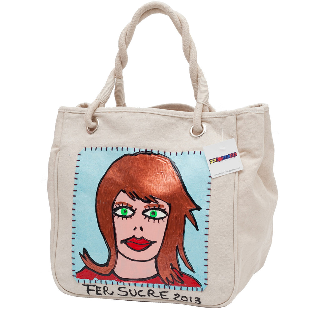 Red hair and green eyes  Bag with handles  by Fer Sucre on natural cotton