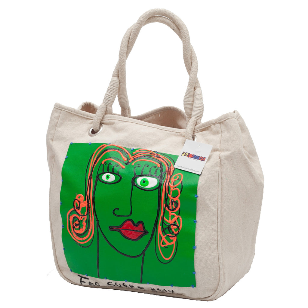 Woman in Green  Bag with handles by Fer Sucre on natural cotton