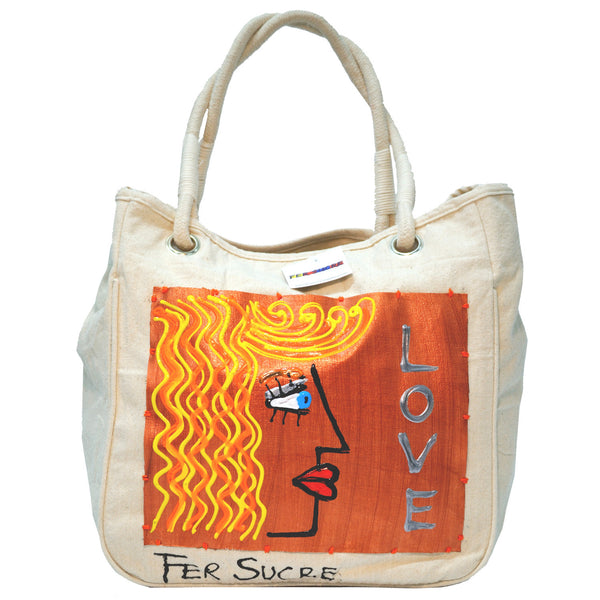 Woman in Love Canvas Bag with Handles by Fer Sucre on natural cotton