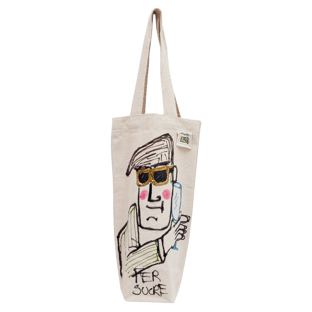 Man with sunglases wine Bag by Fer Sucre on natural cotton wine bag.Design on both sides