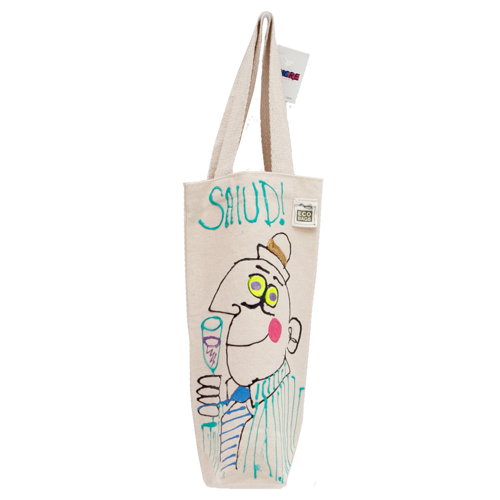 Woman Wine Bag by Fer Sucre on natural cotton