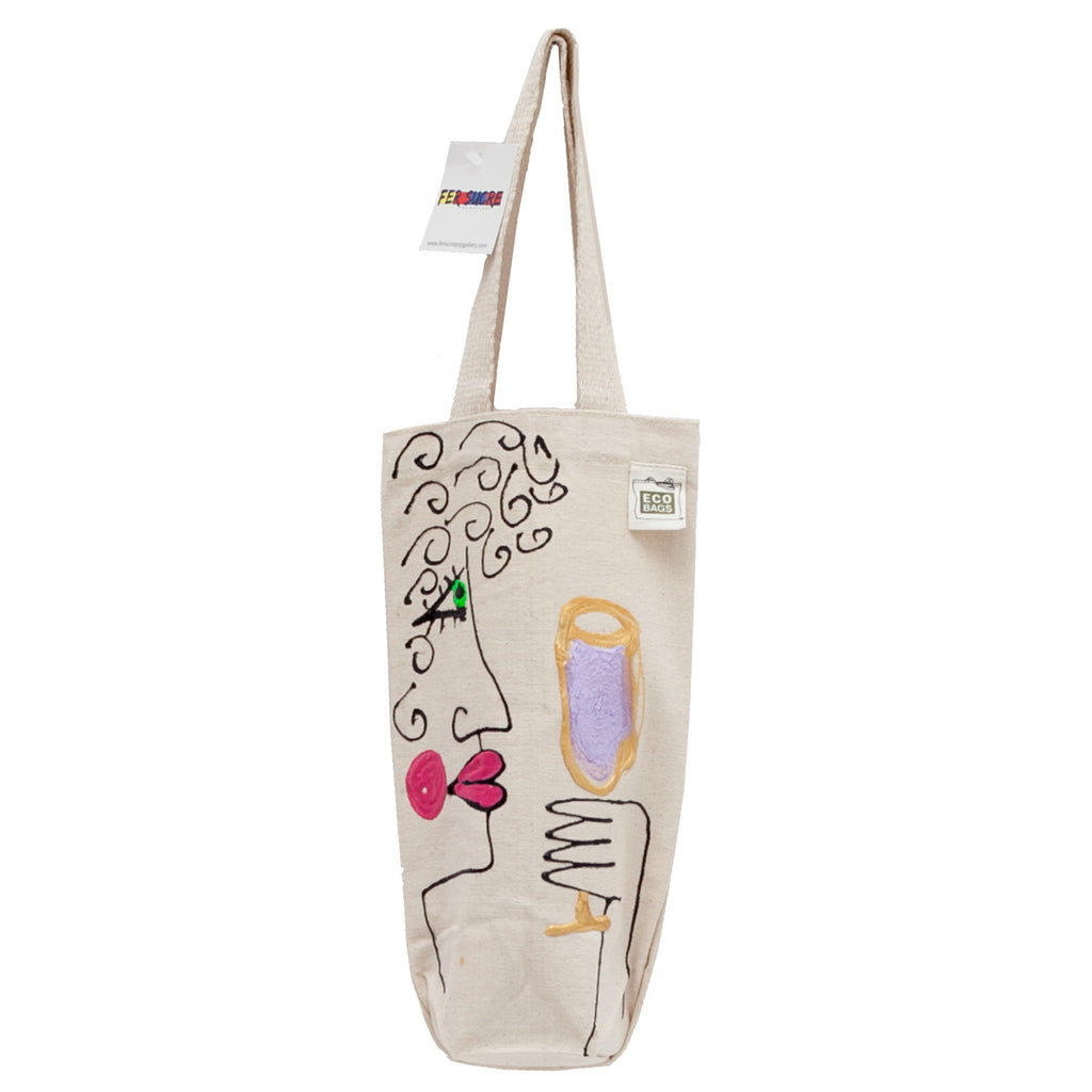 Celebration Time  Wine Bag by Fer Sucre on natural cotton