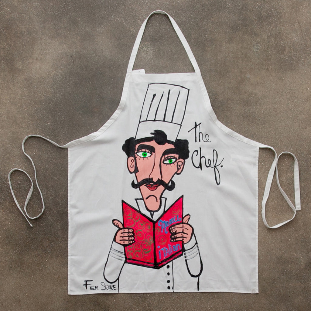The Chef Apron painted by Pop Artist Fer Sucre in acrylic and plastic