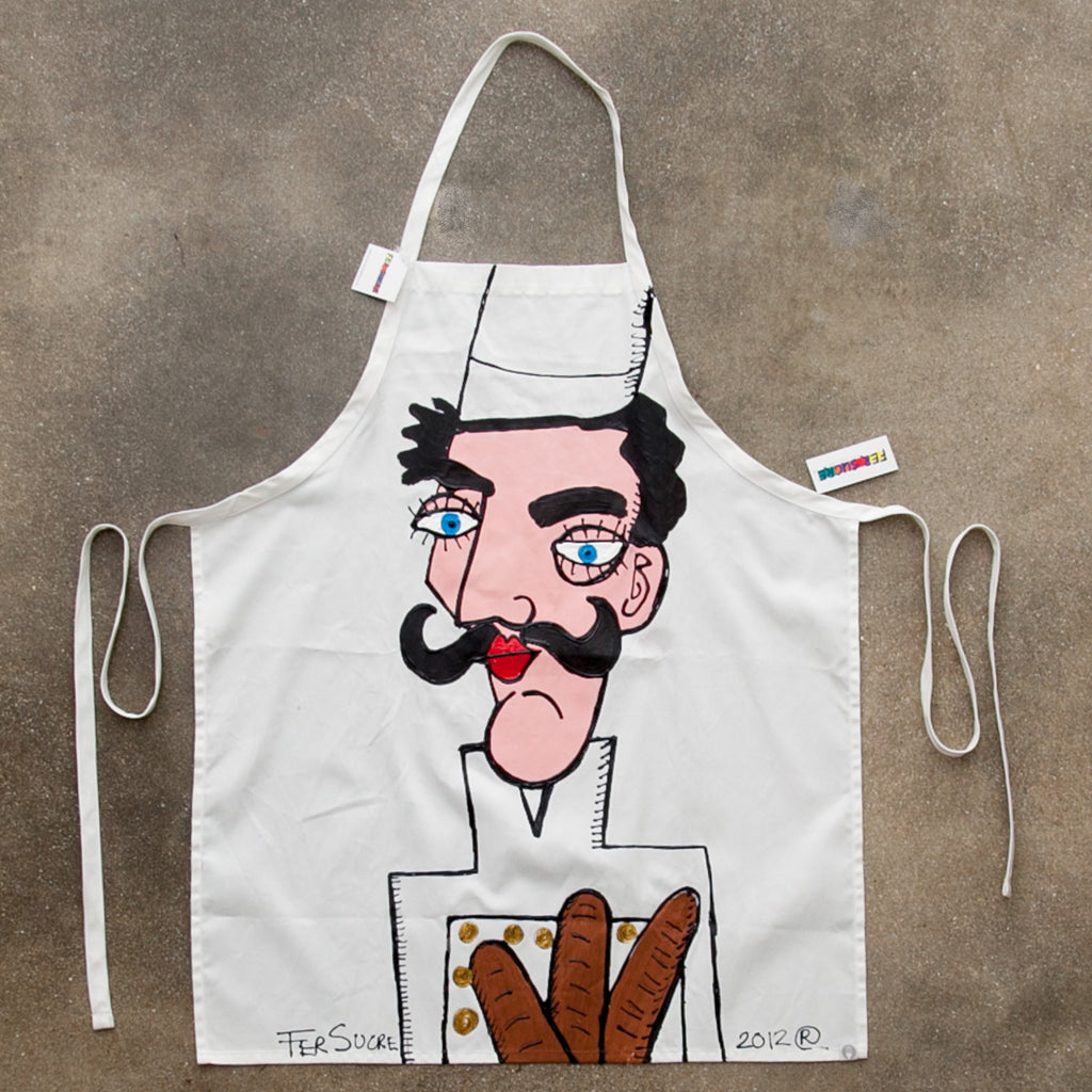 The Bread Baker Apron painted by Fer Sucre in acrylic and plastic