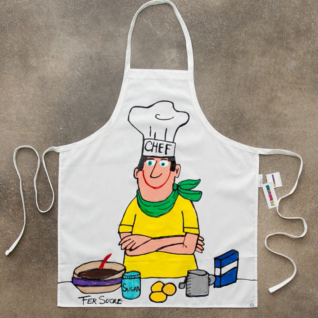 The Happy Chef Apron painted by Fer Sucre in acrylic and plastic