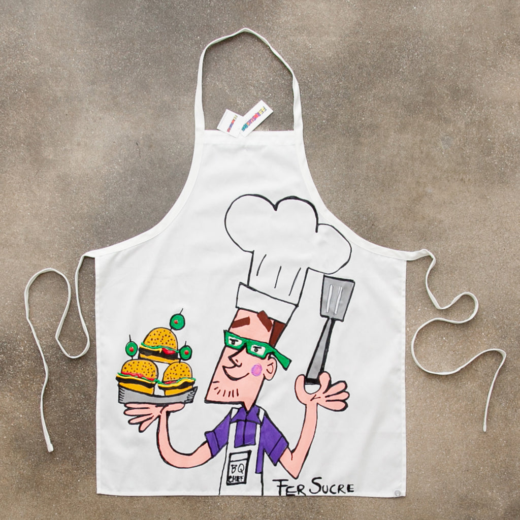 "Professional Cotton Apron with Fer Sucre Painting in  front. Technique: Acrylic and Plastic May be custom made, please call our Gallery for details. Measurements: 43"" x  29"""