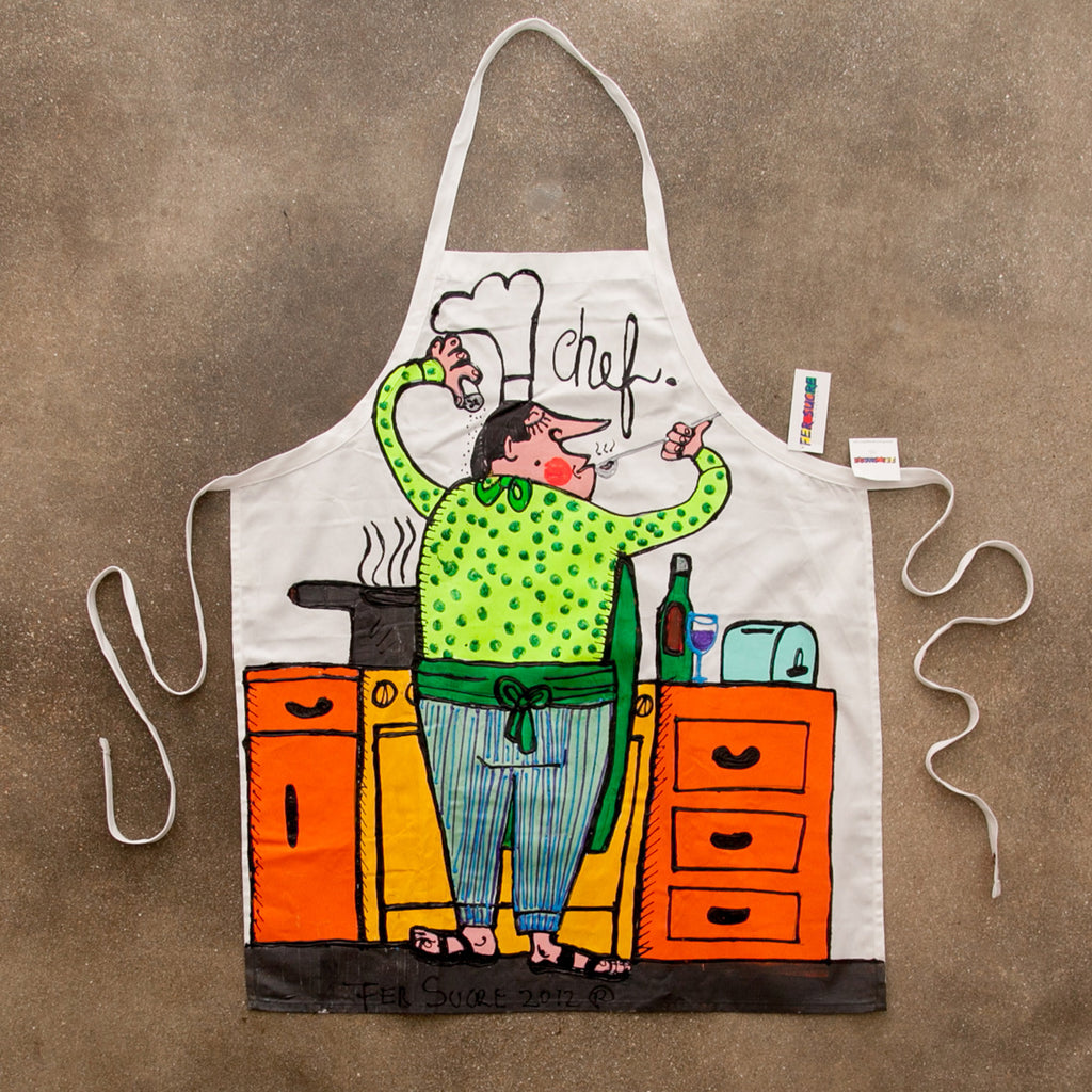 The Cook Apron painted by Fer Sucre in acrylic and plastic