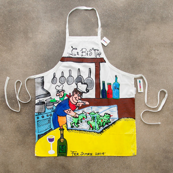 Le Bistro Apron painted by Fer Sucre in acrylic and plastic