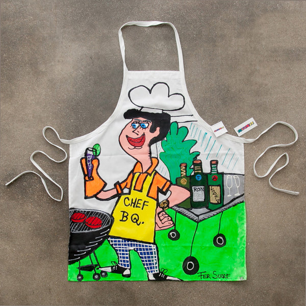 Professional Cotton Apron with Fer Sucre Painting in  front. Technique: Acrylic and Plastic May be custom made, please call our Gallery for details.