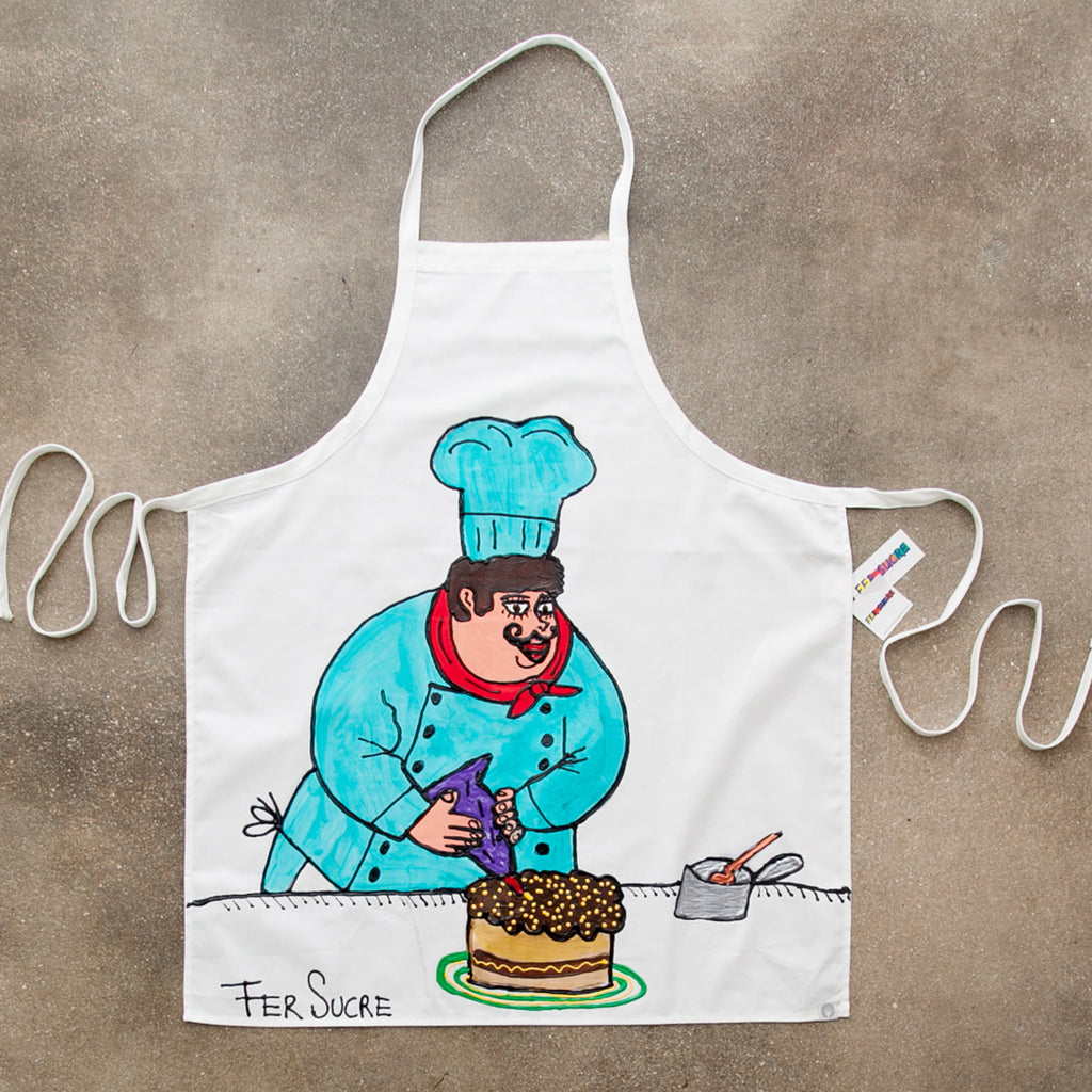 The Baker Apron painted by Fer Sucre in acrylic and plastic
