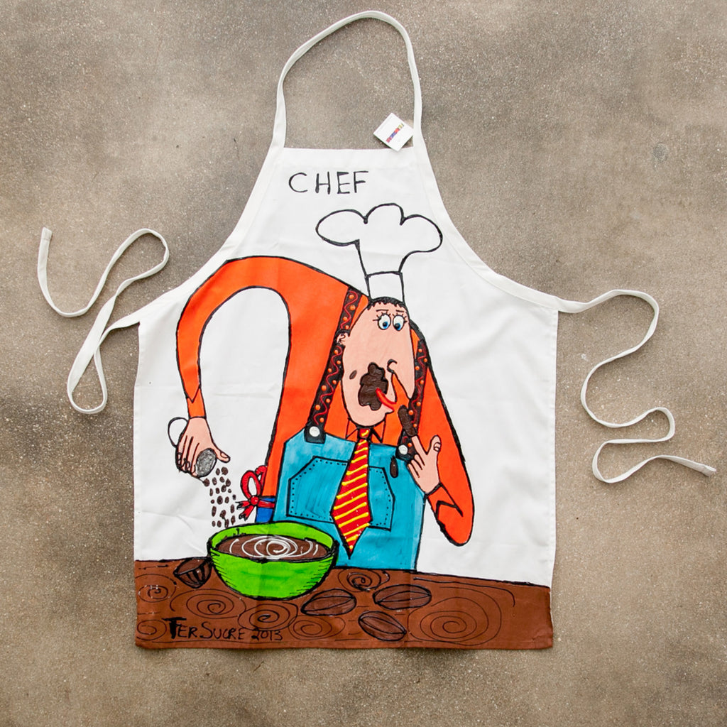 The Cook 2 Apron painted by Fer Sucre in acrylic and plastic
