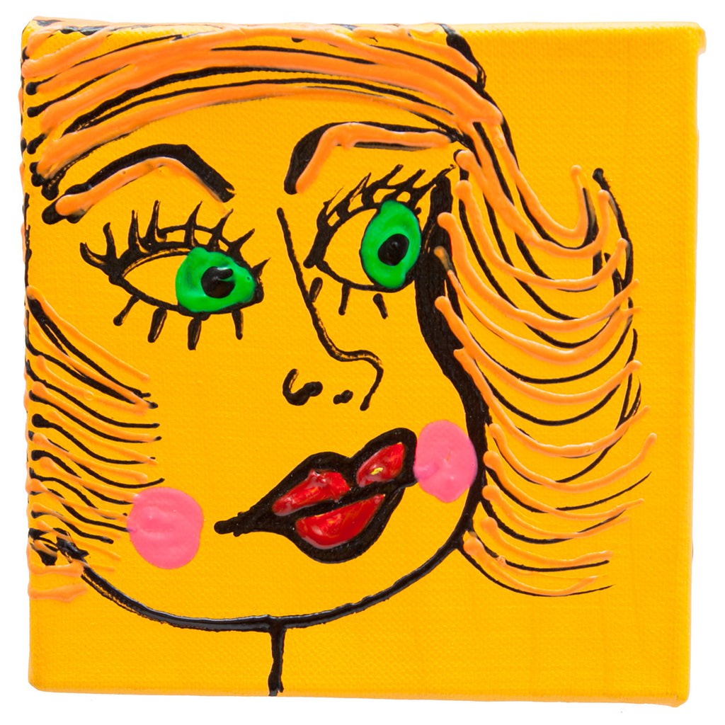 "Woman Orange Box  by Fer Sucre Technique: Acrylic and Plastic Measurements:  7"" square Year:  2010 Frame: unframed"