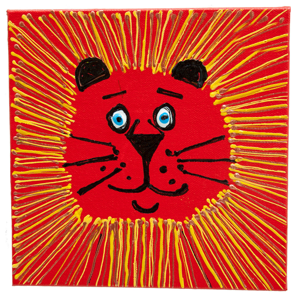 "Orange Lion Box Technique: Acrylic and Plastic Measurements: 7"" square Year: 2010 Frame: unframed"