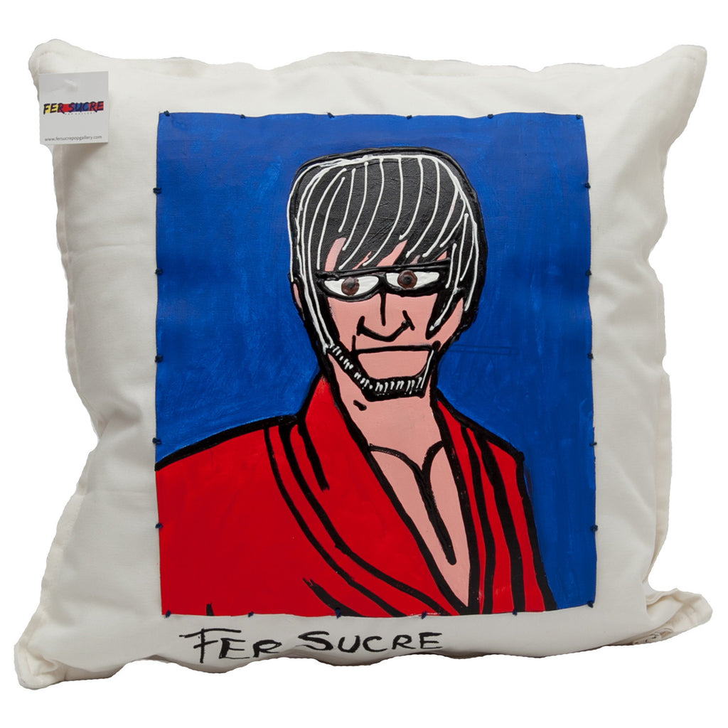 "Samurai Pillow by Fer Sucre on white cotton 20""x20"""
