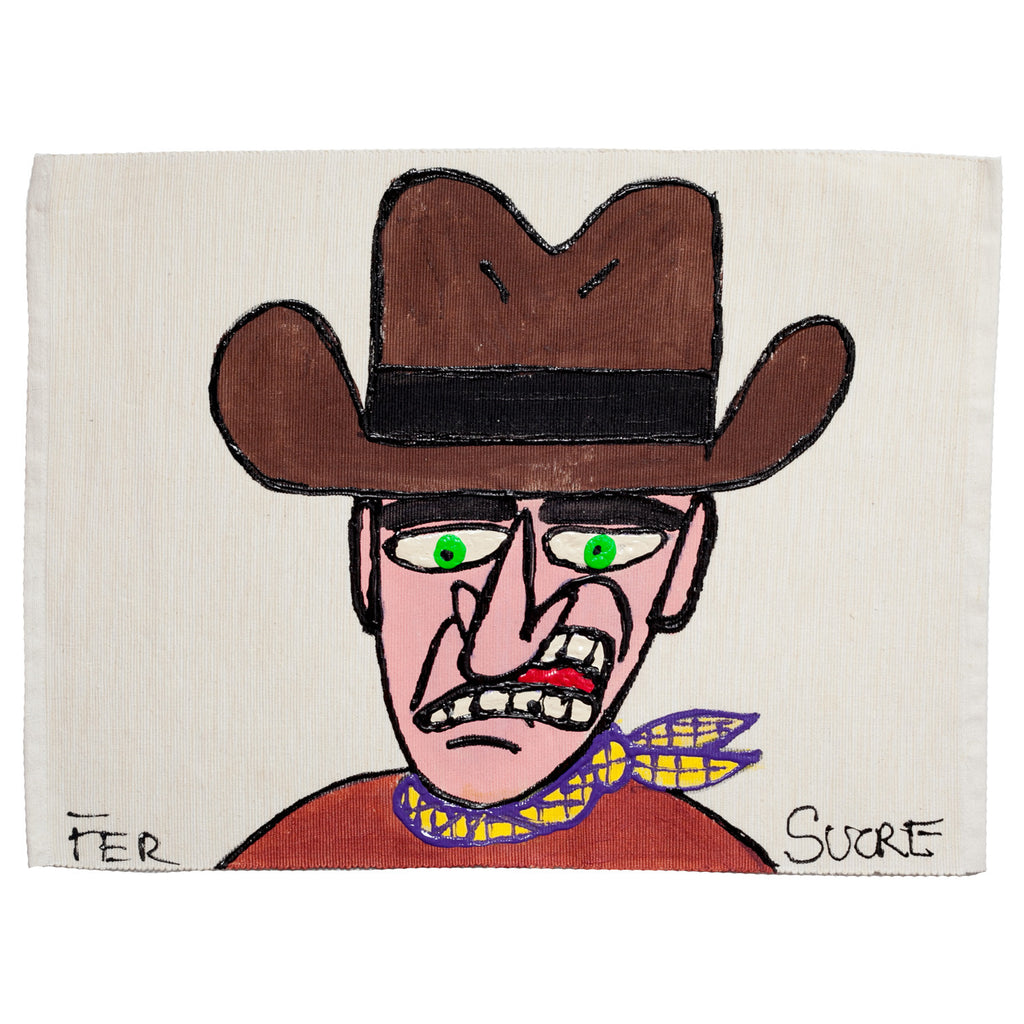 Cowboy  Individual Place Mat  by Fer Sucre on natural cotton.Design only on front
