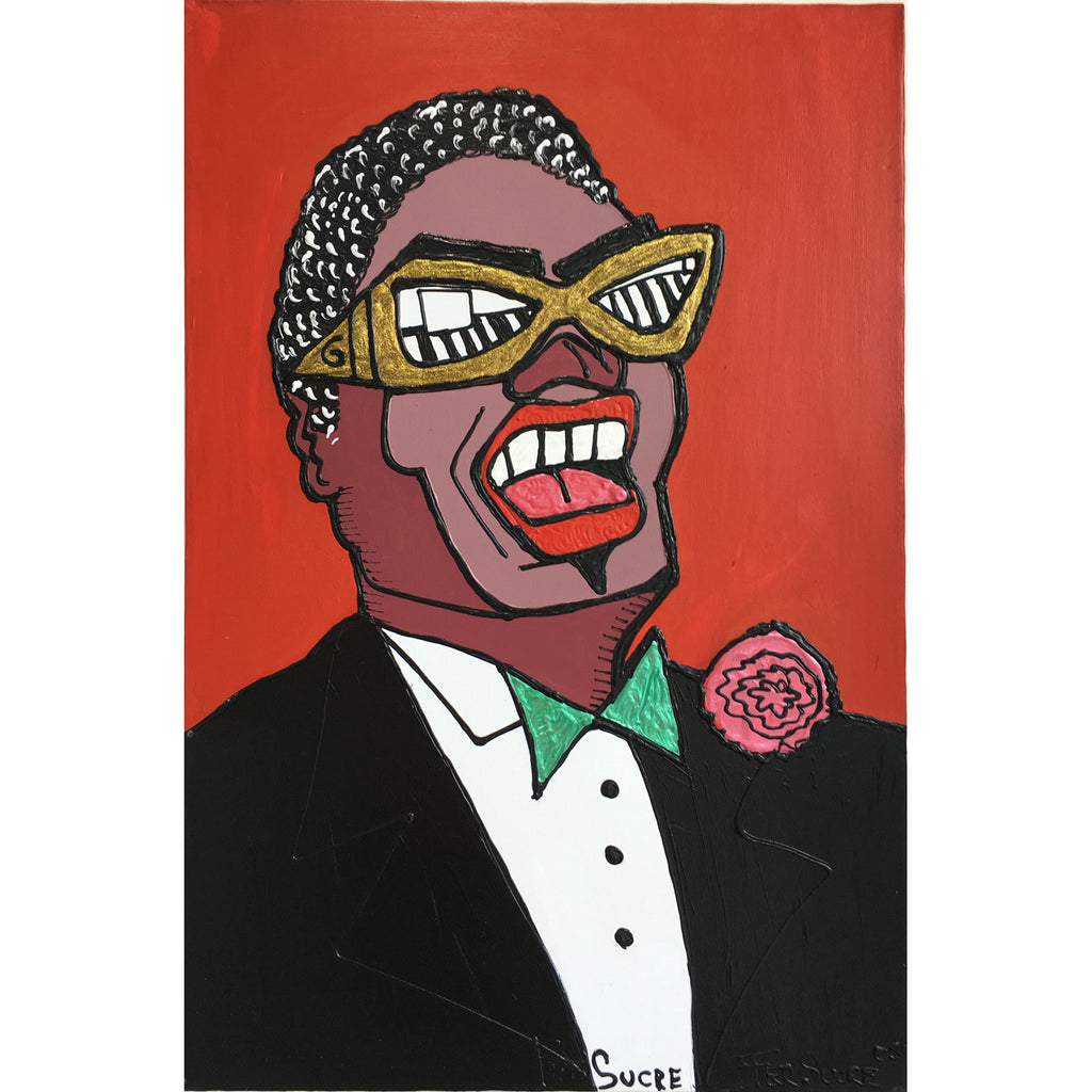 "Ray Charles by Fer Sucre Technique: Acrylic and Plastic  Measurements: 24x36"" Year:  2005 Frame:  unframed"