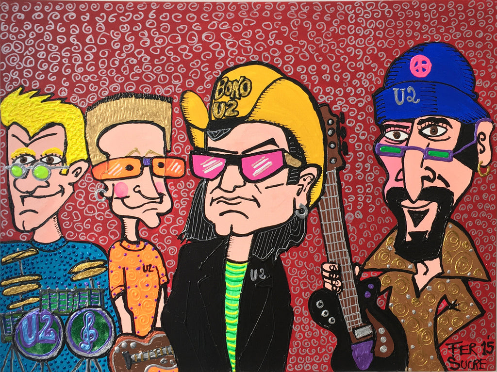 "U2 by Fer Sucre Technique: Acrylic and Plastic  Measurements: 40x30"" Year:  2015 Frame:  Wood"