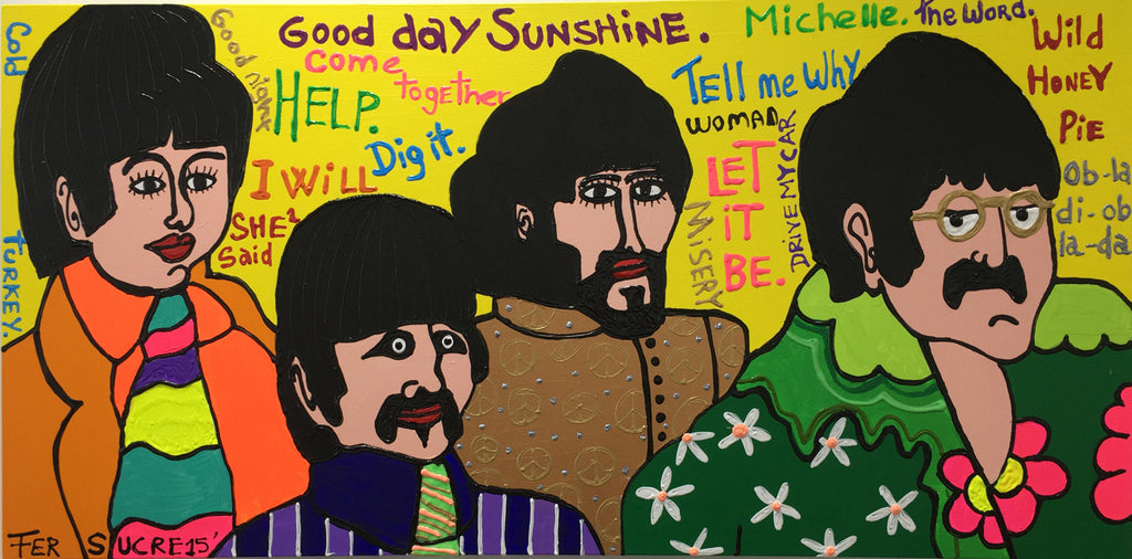 "Beatles by Fer Sucre Technique: Acrylic and Plastic  Measurements: 48x24"" Year:  2015 Frame:  unframed"