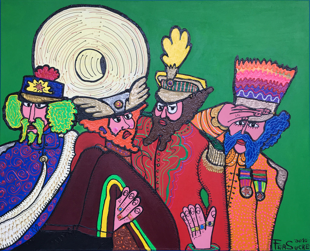 "Beatles Parade by Fer Sucre Technique: Acrylic and Plastic  Measurements: 50x40"" Year:  2010 Frame:  unframed"