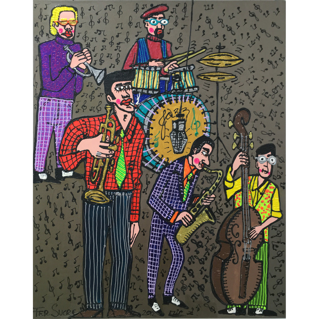 "Jazz Band from New Orleans by Fer Sucre Technique: Acrylic and Plastic  Measurements: 48x24"" Year:  2013 Frame:  unframed"
