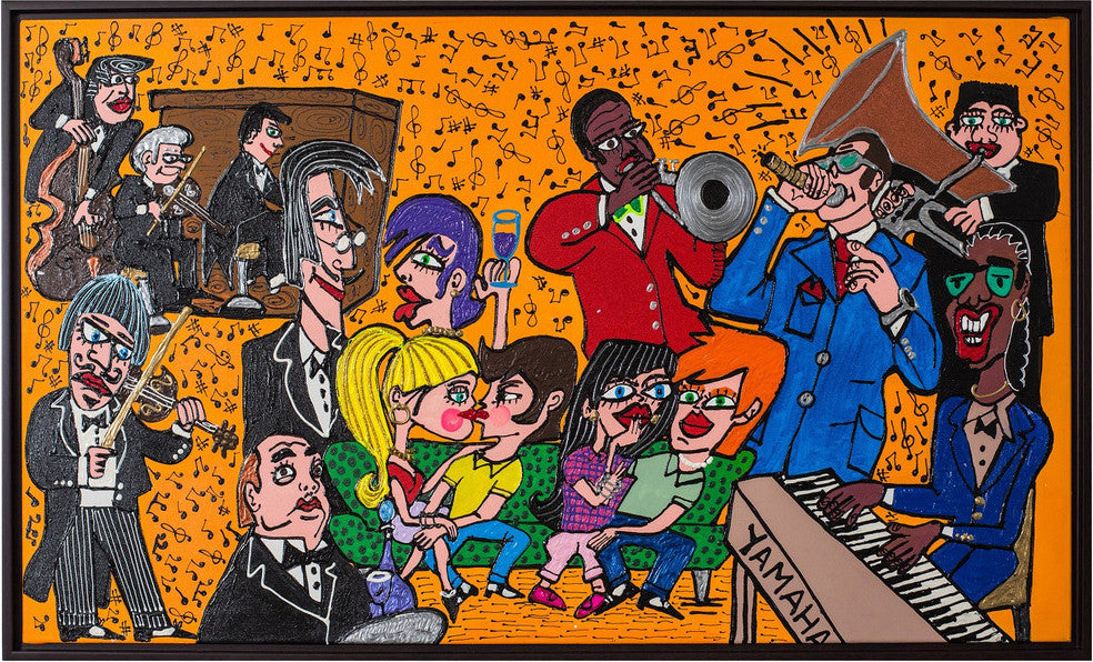 "Stevie Wonder & Band Painting by Fer Sucre  Technique: Acrylic and Plastic Measurements: 30""x 52"" Year: 2014 Frame: Wood"