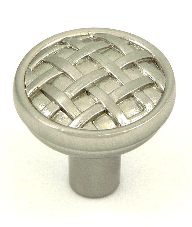 CP28-SN   Satin Nickel Basket Weave Cabinet Knob
