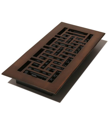 "DGAJ410 - Decor Grates 4""x10"" Solid Brass Floor Register"""