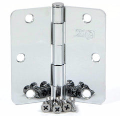 "SMH3514-CH   3.5"" Polished Chrome 1/4"" Radius Corner Door Hinge - (2 Pack)"