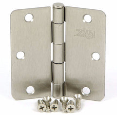 "SMH3514-SN   3.5"" Satin Nickel 1/4"" Radius Corner Door Hinge - (2 Pack)"