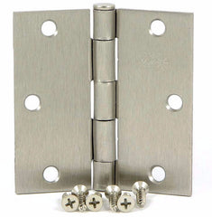 "SMH35SQ-SN   3.5"" Satin Nickel Square Corner Door Hinge - (2 Pack)"