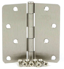 "SMH4014-SN   4"" Satin Nickel 1/4"" Radius Corner Door Hinge - (2 Pack)"