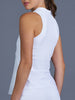 Denise Cronwall Club White Sleeveless Collar Top