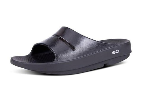 Oofos Men's OOahh Slide Sandal- Black 1100BLK