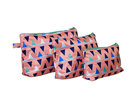 All For Color Sand Castles 3 Piece Cosmetic Bag Set TCTP7207