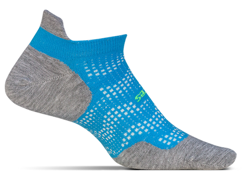 Feetures High Performance No Show Tab Tropical Blue Socks