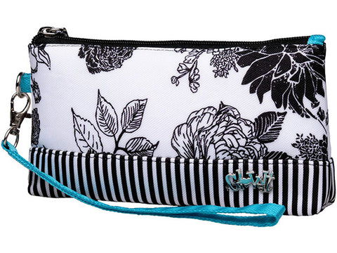 GloveIt Black/White Rose Wristlet
