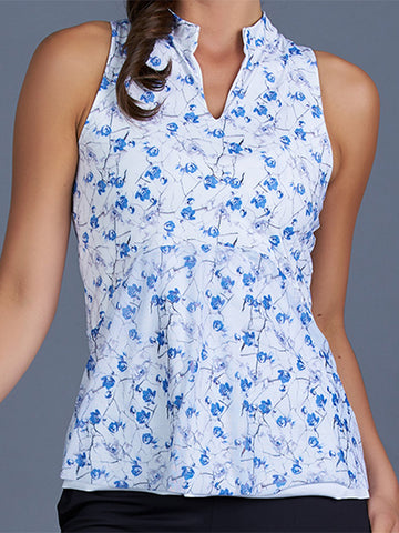 Denise Cronwall Blues Sleeveless Collar Top Print