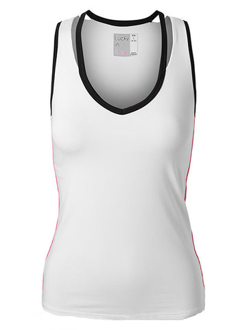 Lucky In Love Women's Off The Charts V-Neck Cut Out Tennis Tank White CT422-120
