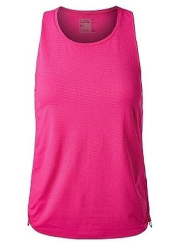 Lucky In Love Women's Off The Charts Airy Cinch Tennis Tank Pink CT472-640