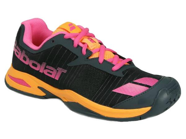 Junior Shoes - Babolat Junior Jet All Court Tennis Shoe Grey/Orange/Pink